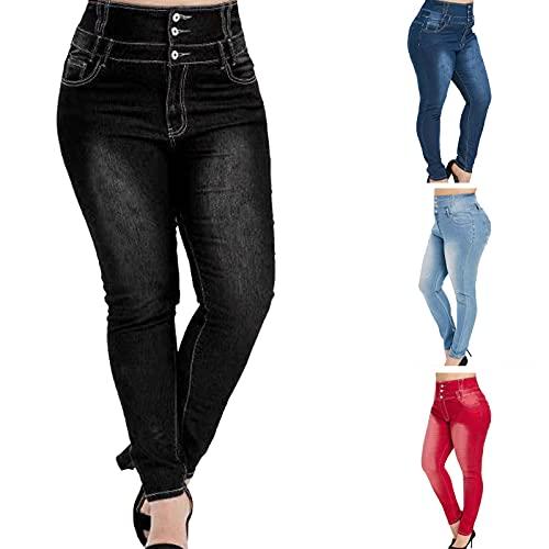 JIAYOUA Damen Skinny High Waist Jeans Stretch Jeanshose Große Größe Elegant Jeanshosen Lang Eng Boyfriend Denim Hose Casual Fit High Waist Lässig Hose Streetwear Teenager Mädchen