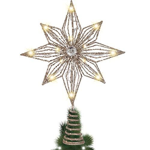 Valery Madelyn Weihnachtsbaumspitze 34.5cm Metall Christbaumspitze batteriebetriebe 10 Warmgelb LEDs beleuchtete Baumspitze in Hexagramm Form Weihnachtsdeko für Baum Weinhanchtsschmuck Champagnergold
