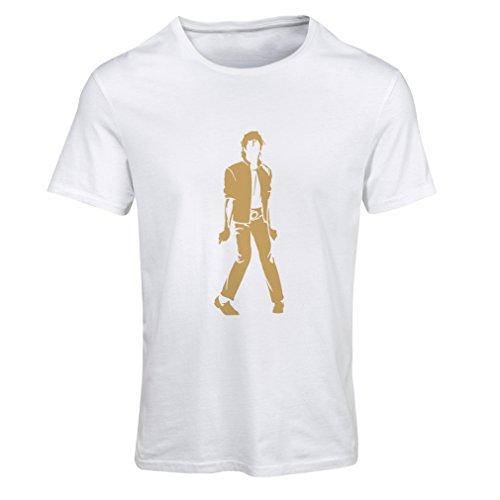 lepni.me Camiseta Mujer Me Encanta M J - Rey del Pop, 80s, 90s Músicamente Camisa, Ropa de Fiesta (Small Blanco Oro)