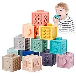 Babyhelen Babyblöcke Baby Spielzeug Weiche Bausteine für Kinder, Beißringe Spielzeug Baby Bunte Stapelwürfel Motorikspielzeug mit Zahlen, Formen, Tieren 12PCS