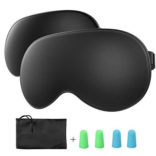 Schlafmaske TechRise 2-Pack Augenmaske Nachtmaske Verstellbarem Gummiband 100% Hautfreundlich Seide Geruchneutral Schlafbrille