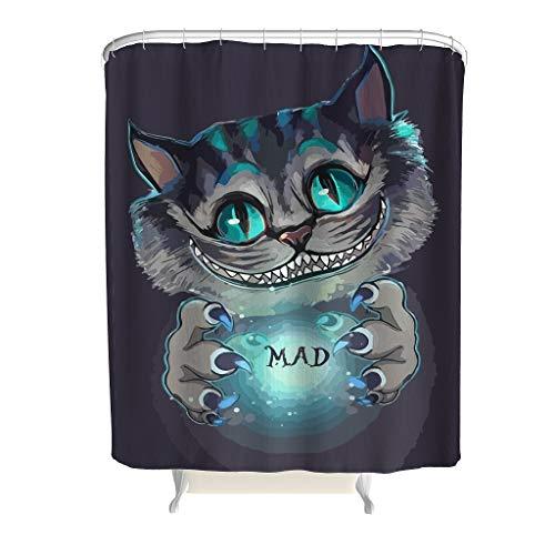 EPLstar Polyester Stoff Mad Cheshire Cat Duschvorhang Wasserabweisend Vorhang White 120x200cm