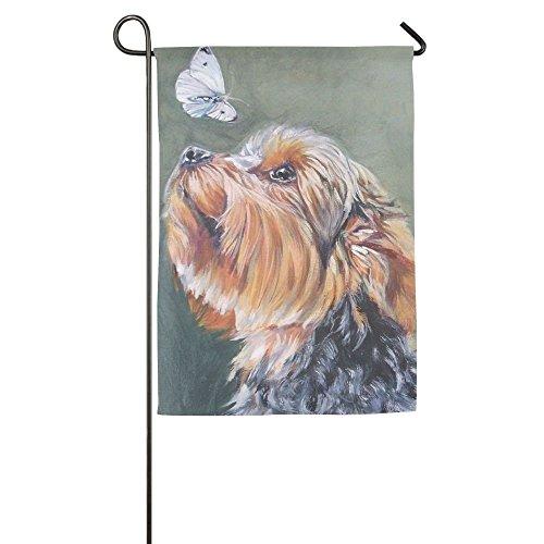 Cutadornsly Ursprüngliche Yorkie Hund Tierfahne Vorratshof Garten Flaggen 12 x 18 cm halb-transparent Polyester Faser Emblemize