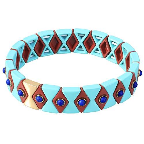 Kanyee Geometrica Smalto Perline bracciali bracciali Braccialetti di Amicizia bracciali di Perline in Smalto per Piastrelle Bracciali Elasticizzati bracciali per Donna Teen, Colore 5