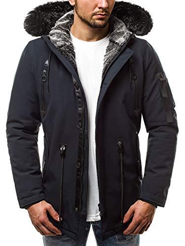 OZONEE Herren Winterjacke Parka Jacke Kapuzenjacke Wärmejacke Wintermantel Coat Wärmemantel Warm Modern Täglichen JB/1068 DUNKELBLAU XL
