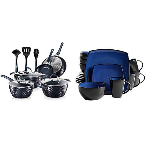 Nutrichef Nonstick Cookware Excilon Home Kitchen Ware Pots & Pan Set with Saucepan Frying Pans, Cooking Pots, Lids, 11 Pcs, Blue Diamond & Gibson Soho Lounge Dinnerware set, Square, Blue