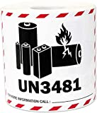 """Lithium-Ion Battery Labels, 4.5"""" x 4.75"""" Shipping Label UN3481 Safety Stickers 500 roll"""