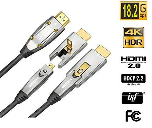 Jeirdus. Cable de fibra óptica HDMI AOC de 18 Gbps, de alta velocidad 4K 60 Hz, con conectores micro y HDMI estándar, fácil de cablear