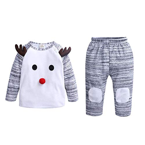 Toyvian Christmas Baby Clothes Set Winter Elk Reindeer Long-Sleeve Costume Pants Grey