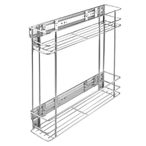 Küchenauszug Korbauszug Unterschrankauszug 20 cm (schmal) | 2 Körbe | Chrom | Teleskop | mit Fronthalter | Vollauszug | max 30 Kg