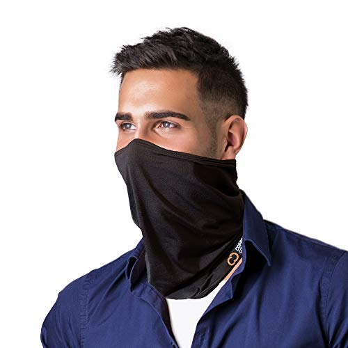 Copper Compression Face Covering and Neck Gaiter for Men and Women Black