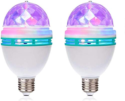 2 Pack RGB Color Rotating Bulb, E26/E27, LED Party Bulbs Colored Strobe Light Bulb Multi Crystal Stage Lights for Disco, Birthday Party Club Bar for Indoor & Outdoor Parties, Photography