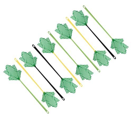 FACKELMANN Fliegenklatsche Frosch Tecno, Insektenschutz mit Aufhängöse (Farbe: Gelb, Grün, Schwarz - Nicht frei wählbar), Menge: 1 x 10er Set
