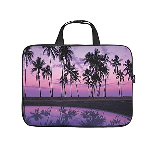 Funda para portátil resistente a los arañazos con diseño de playa hawaiana y puesta de sol, ideal para el trabajo o el negocio