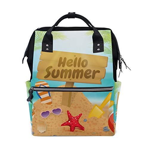 Hello Summer Beach Sac à langer pour maman femme Sac à dos multifonction Grand sac à dos de voyage école école école extérieur