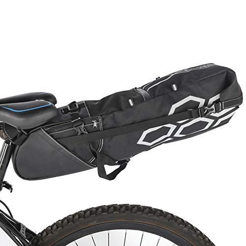 logozoee Bolsa para sillín de Bicicleta, poliéster, Negro, Gris, Hebilla Ajustable, Accesorio para Bicicleta, para Bicicleta de montaña
