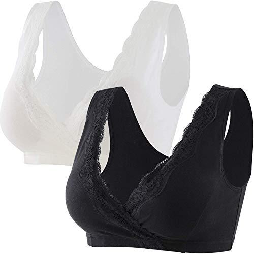 ZUMIY Sujetador de lactancia de algodón de encaje, sin aros, cuello en V, muy suave y cómodo para mujer [extra grande/ / 2 Unidades] Negro + Blanco