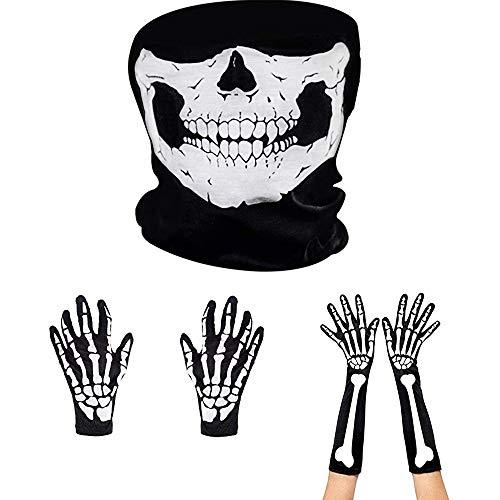 Amasawa Guantes de Esqueletos Blancos y Máscara de Cara de Calavera Huesos de Fantasmas para Adultos Halloween Fiesta de Disfraz de Danza