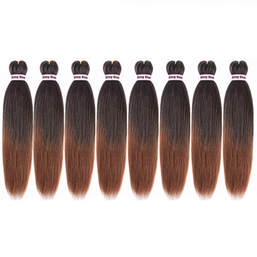 "Ding Dian Pre Stretched Braiding Hair 20""-8 Packs Braid Synthetic Hair Hot Water Setting Braiding Hair Yaki Texture Hair Extensions (1B/30)"