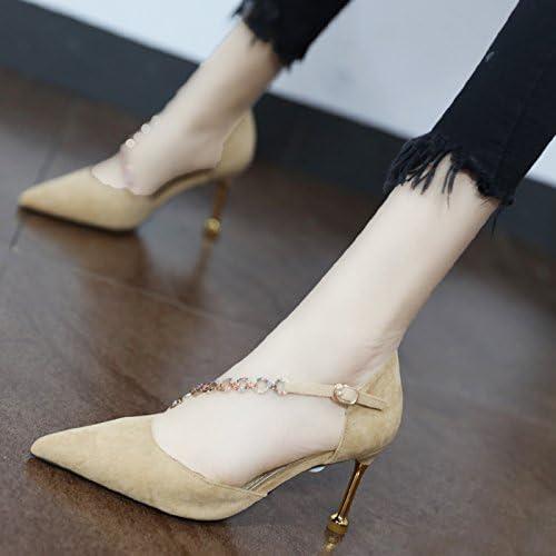 Xue Qiqi Astuce chaussures de couleur claire chaîne élégante cravate en fente fine avec des talons hauts chaussures unique vide Côté femelle