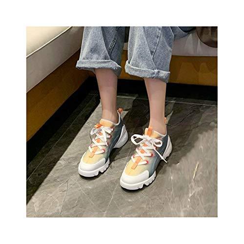 HaoLin Zapatos de Caña Baja para Mujer Zapatillas de Deporte de Aumento de Altura Zapatillas de Deporte Creepers con Cordones Transpirables Informales,Blue-40