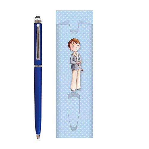 Lote de 20 fundas para niño con 20 bolígrafos para dar como recuerdo a los invitados de una Primera Comunión