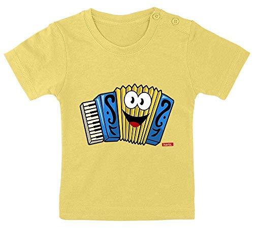 Hariz - Camiseta para beb, diseo de acorden con texto en alemn 'Acorden', color amarillo