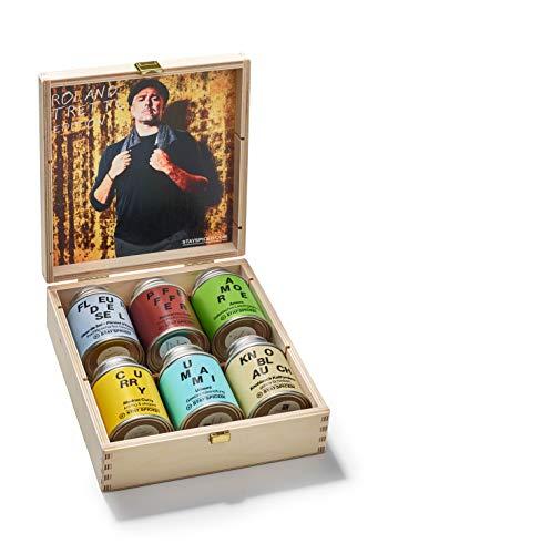 Roland Trettl´s 6 Lieblingsgewürze in schöner Holzbox I Gewürze Geschenkset für Mann und Frau I 6 x Reingewürze & Gewürzmischungen in 870 ml Weißblechdosen I LIMITED EDITION