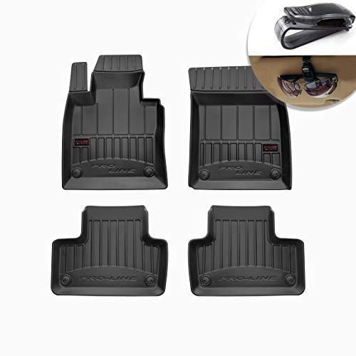 Frogum Alfombrillas de Goma 3D Alfombrillas de Coche TPE, compatibles con el Juego Volvo XC60 II de 2017, Borde Muy Alto, Juego de 4 Piezas con Sistema de Montaje Negro