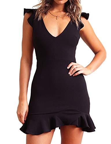 Relipop Women's Dresses V-Neck Strappy Backless Ruffle Hem Fishtail Solid Mini Short Dress Black Massachusetts