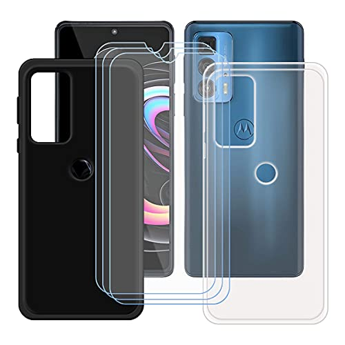 "szjckj 2 x Funda para Motorola Edge 20 Pro (6,7"")+ 3 x Protector de Pantalla, Case Cover Carcasa Bumper Negro + Transparente Clear TPU Silicone Cristal Vidrio Templado."
