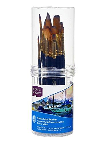 Derwent Academy Taklon Small Brush Set Cylinder (Pack of 12)