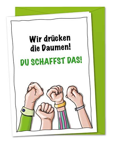 Karte Daumen drücken - gemeinsam viel Glück und Erfolg wünschen, Du schaffst das, wir denken an Dich - inklusive Umschlag (DIN A5)