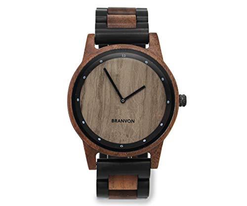 Branvon Holzuhr | Herren Uhr | Analog Quarz| Holzarmbanduhr mit Marmor-Ziffernblatt | inkl. Holz Geschenkbox