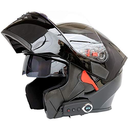 MTTK Casco de Motocicleta Bluetooth integrada con micrófono Oculto Moto abatible Casco Integral con Doble Lente, FM, GPS,C,M