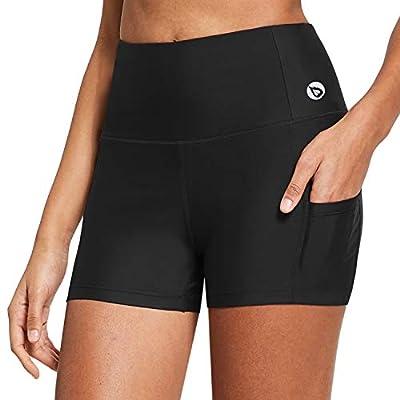 BALEAF Women's High Waist 3 Inches Compression Spandex Workout Running Yoga Volleyball Shorts Back Zipper Pocket