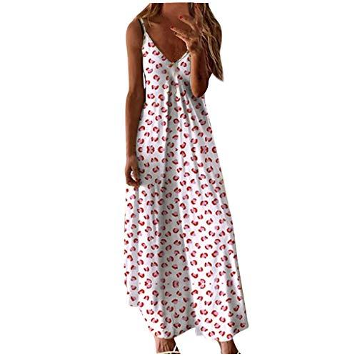 Toimothcn Women Sexy Spaghetti Strap Long Maxi Dress Plus Size Tie-dye Print Sleeveless V-Neck Camisole Tank Dress(White,Small)