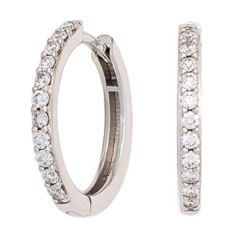 JOBO Creolen 585 Gold Weißgold 22 Diamanten Brillanten Ohrringe Klappmechanik