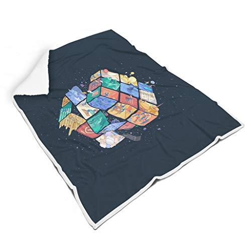 Hothotvery - Manta de peluche psicológica (150 x 200 cm), diseño de Rubik s Cube World impreso, color blanco