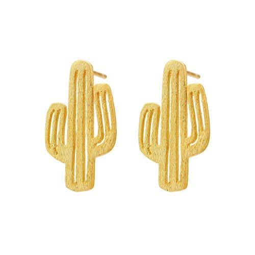 Pendientes elegantes con diseño de cactus en un delicado aspecto de filigrana, cree esperanza, pendientes para mujer en un estilo moderno y alegre., Latón,