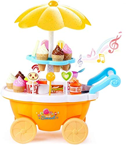 ToyVelt Ice Cream Toy Cart Play Set for Kids - 39-Piece Pretend Play Food - Educational Ice-Cream Trolley Truck with with Music & Lighting - Great Gift for Girls and Boys Ages 3 - 12 Years Old