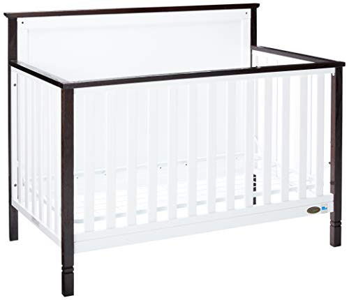 Dream On Me Alexa II 5 in 1 Convertible Crib in White with Wire Brushed Charcoal, Greenguard Gold Certified