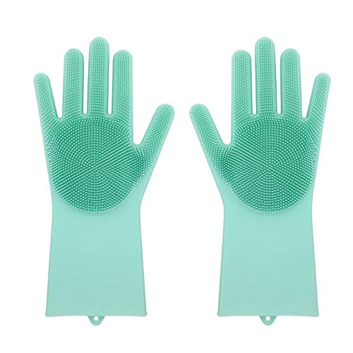 LIVINGENIE 13 Magic SakSak Silicone Brush Scrubber Gloves Heat Resistant, for Dish wash, Cleaning, Pet Hair Care (Mint)