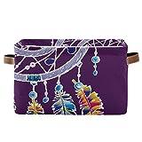TripicalLife - Cesta de lavandería con plumas, diseño de atrapasueños, color morado