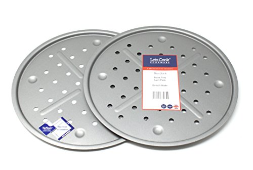 Pizza Pan Baking Tray Twin Pack - 13 Inch (33.5cm), British Made with Teflon Non Stick by Lets Cook Cookware