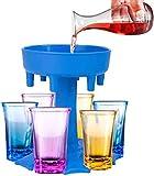 Love begans Set di Bicchierini con Distributore di Bicchieri da Shot in 6 Modi, Dispenser per Liquore, per Bar, Casa, Cocktail, Feste - 6 Bicchieri da Vino Colorati e Un Dispenser