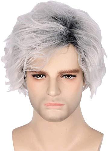 Peluca Carlos inspirada en Descendants 3 gris corto teido rizado peluca disfraz Halloween Cosplay Pelucas (nios) (color: nios)