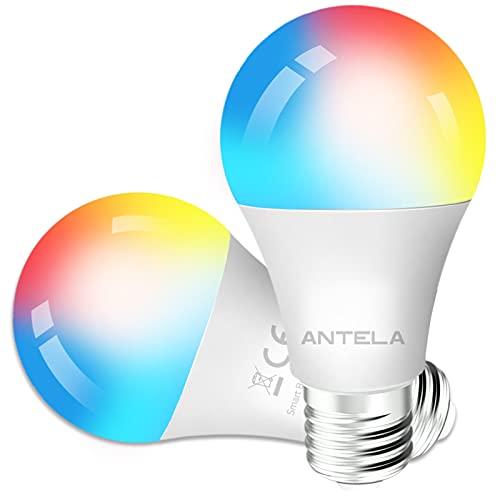 Lampadine LED Alexa Inteligente WiFi E27 [2021Edition], Dimmerabile Lampadina ANTELA Smart 9W 806ML 80W equivalente, RGB & 2700K-6500K bianco freddo caldo, compatibile con Alexa/Google Home, 2 pezzi