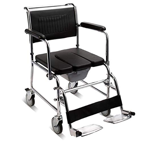 Silla De Ducha MóVil con Ruedas Silla De BañO Acolchada para Usuarios Mayores Discapacitados Y Discapacitados BañO para Uso En El BañO Junto A La Cama
