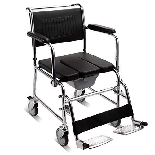Silla De Ducha MóVil con Ruedas Silla De BañO Acolchada para Usuarios Mayores Discapacitados Y Discapacitados BañO para Uso En El BañO Junto A La Cama ⭐